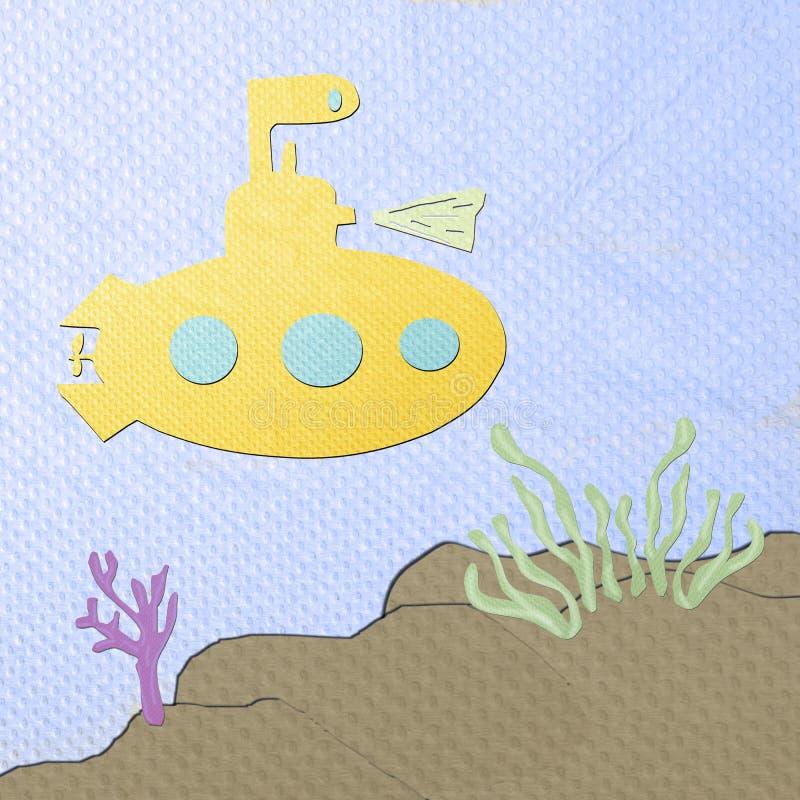 Desenhos Animados Submarinos Feitos Do Papercraft Do Tecido Foto de Stock