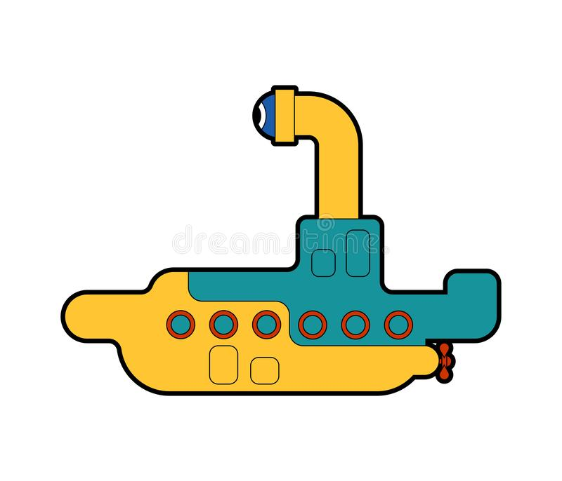 Desenhos animados submarinos isolados Navio para o mergulho subaquático Ilustra??o do vetor ilustração royalty free