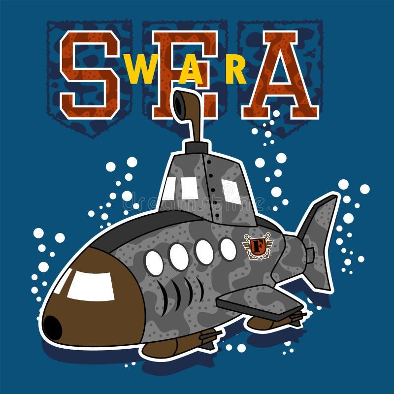 Desenhos animados submarinos militares na guerra do mar ilustração royalty free