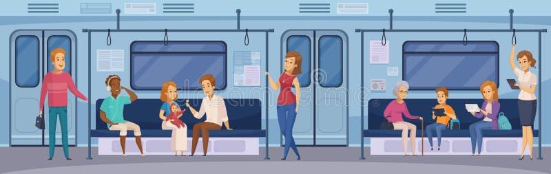 Desenhos animados subterrâneos dos passageiros do trem do metro ilustração stock