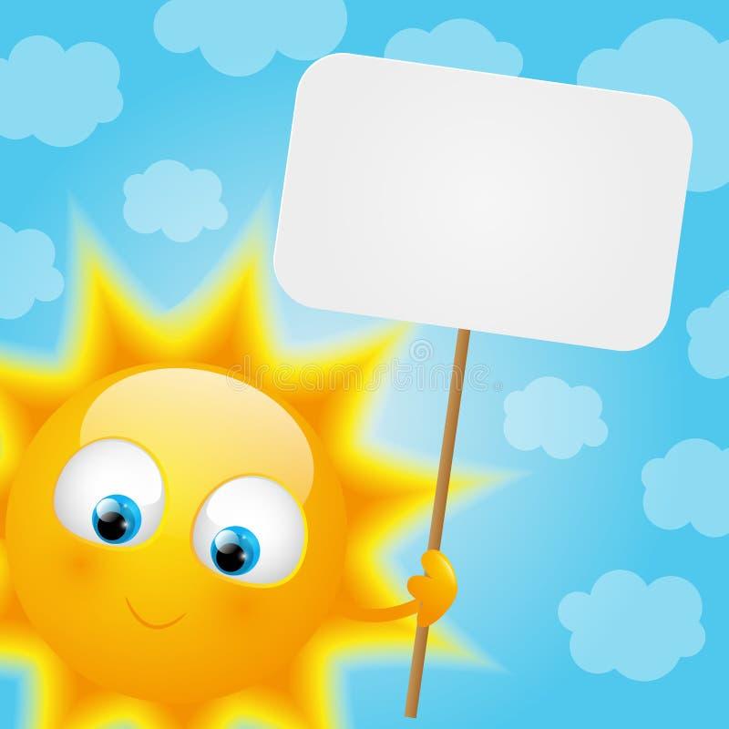 Desenhos animados Sun com cartão de papel ilustração stock