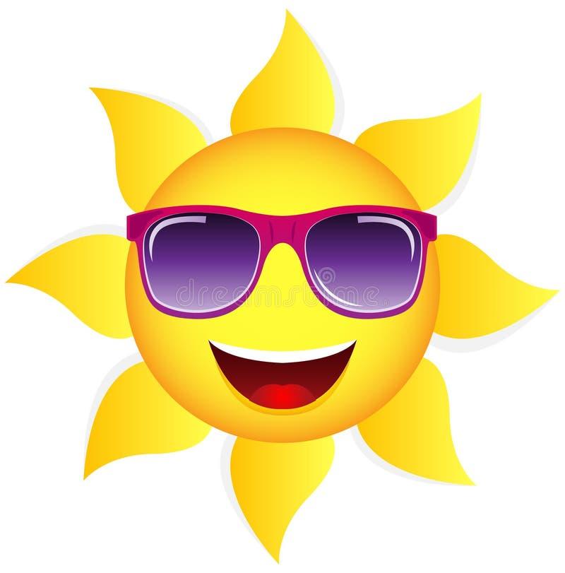 Desenhos animados Sun do vetor com óculos de sol ilustração do vetor
