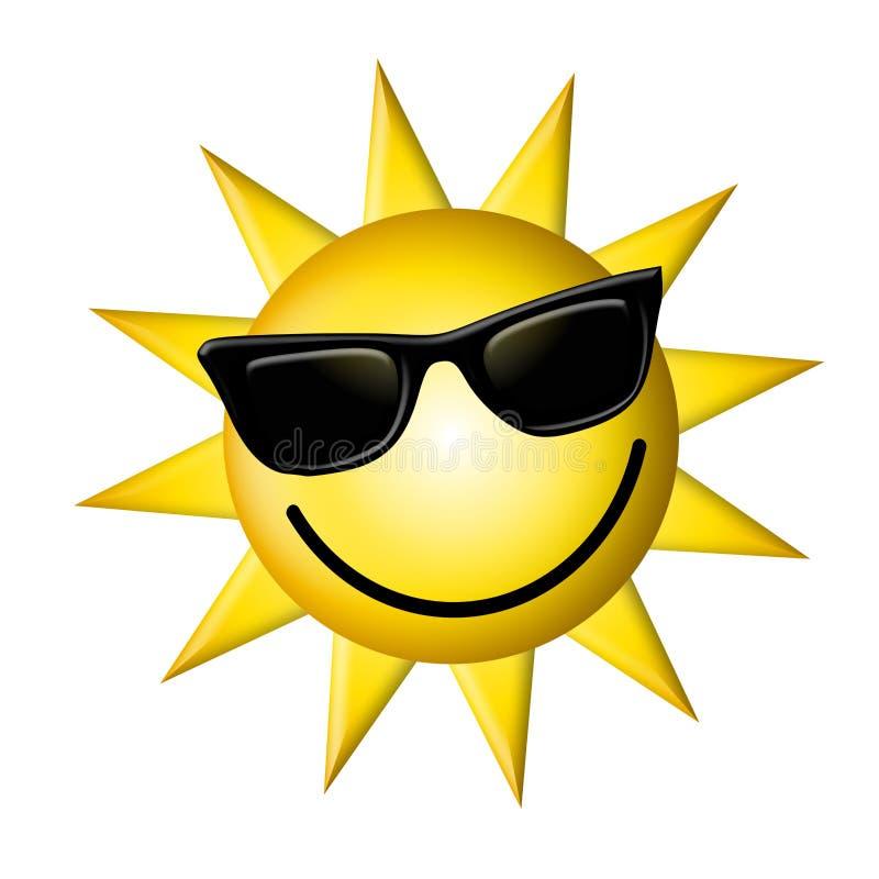Desenhos animados Sun que desgasta vidros escuros ilustração do vetor