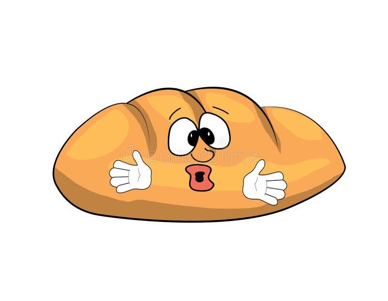 Desenhos animados surpreendidos do pão ilustração do vetor