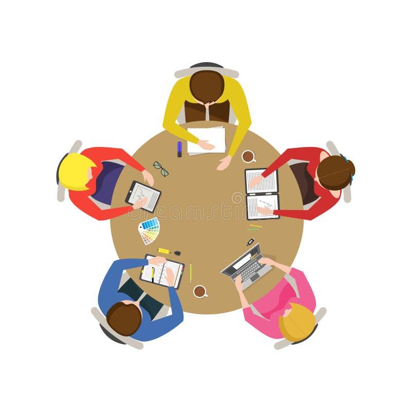Desenhos animados Team Meeting Vetor ilustração stock