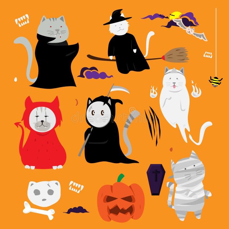 Desenhos animados tirados do gato mão bonito Um Web de aranha grande antes de uma lua brilhante estranha ilustração stock