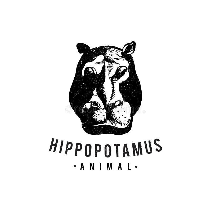 Desenhos animados tirados mão do vintage do hipopótamo para o símbolo do design web ilustração do vetor