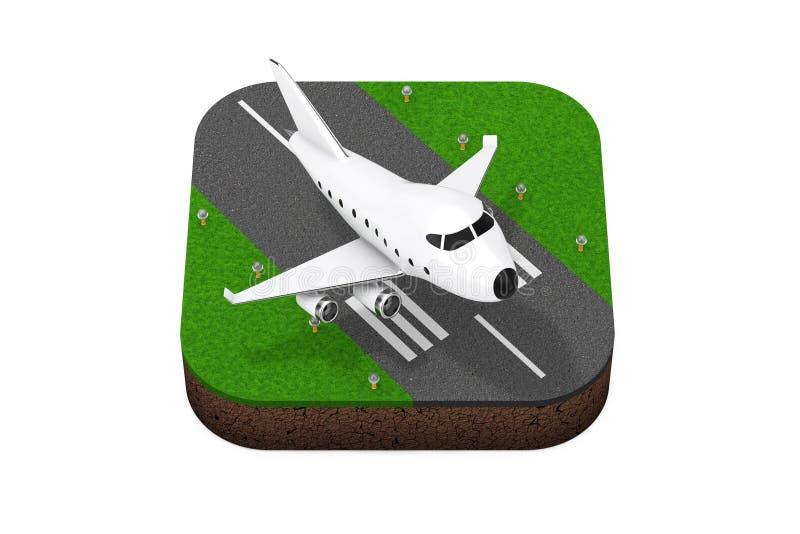 Desenhos animados Toy Jet Airplane Takeoff do ícone isométrico da pista de decolagem rendição 3d ilustração stock