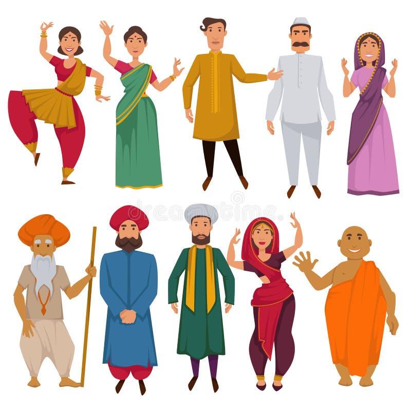 Desenhos animados tradicionais do vetor da roupa dos povos indianos ilustração royalty free