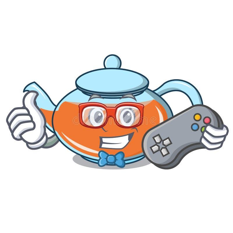 Desenhos animados transparentes do caráter do bule do Gamer ilustração do vetor