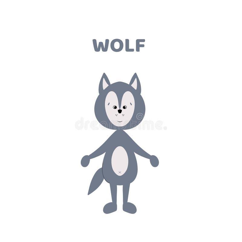 Desenhos animados um lobo bonito e engraçado ilustração royalty free