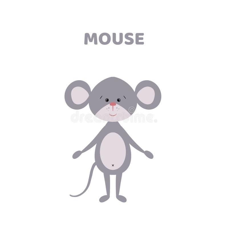 Desenhos animados um rato bonito e engraçado ilustração stock