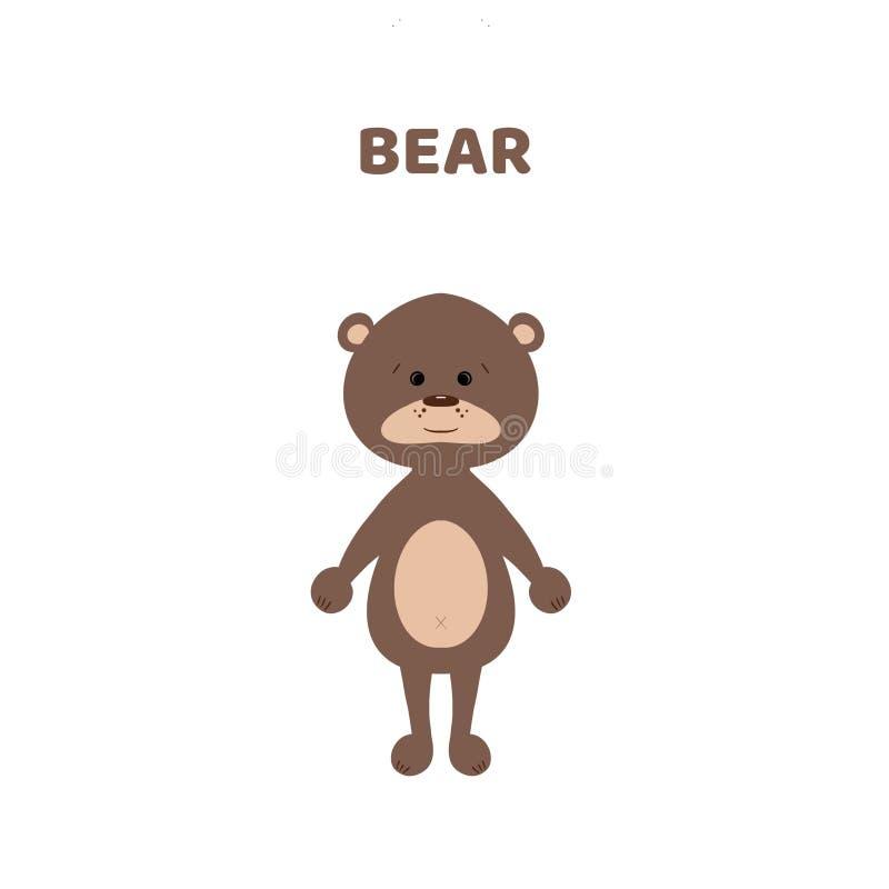 Desenhos animados um urso bonito e engraçado ilustração stock