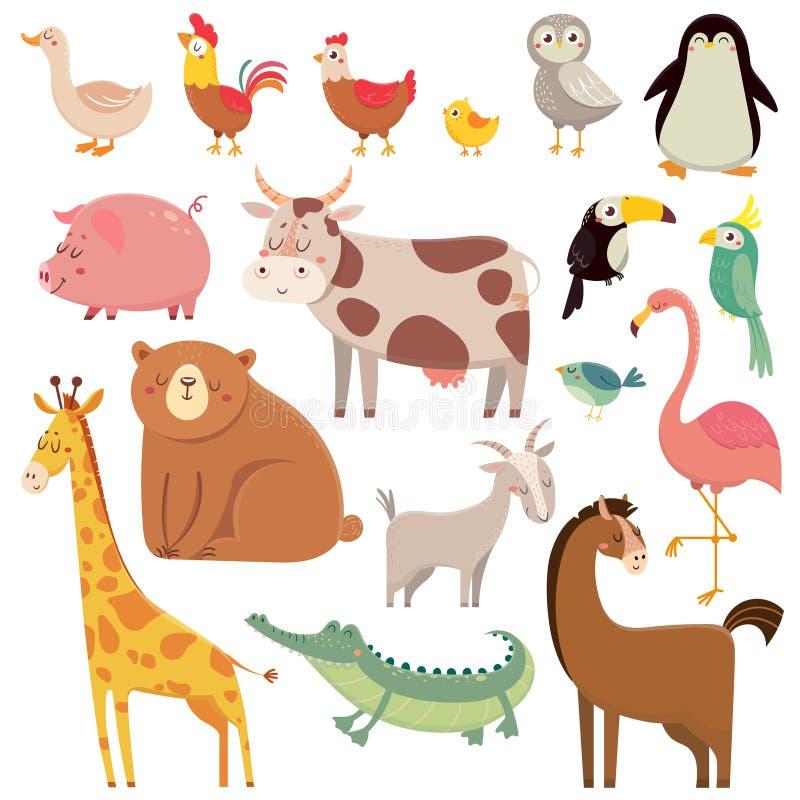 Desenhos animados urso selvagem, girafa, crocodilo, pássaro e a doméstico do bebê ilustração do vetor
