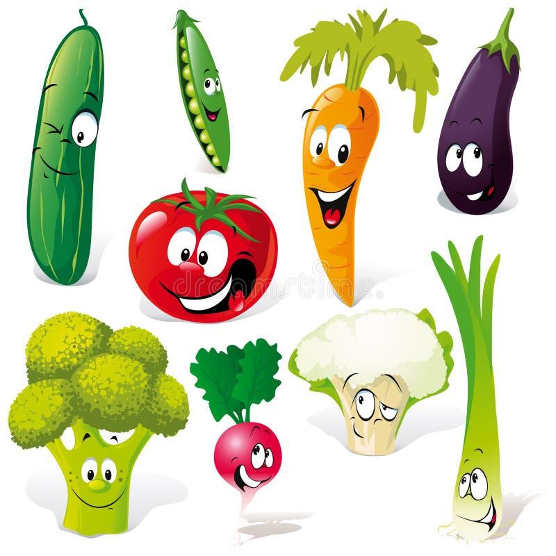 Desenhos animados vegetais engraçados ilustração royalty free