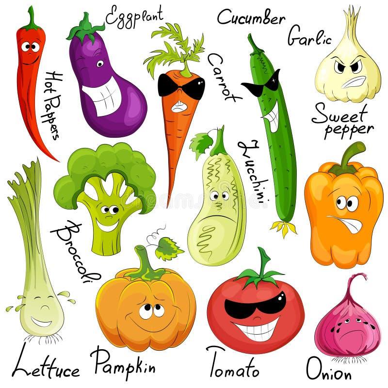 Desenhos animados vegetais engraçados isolados ilustração do vetor