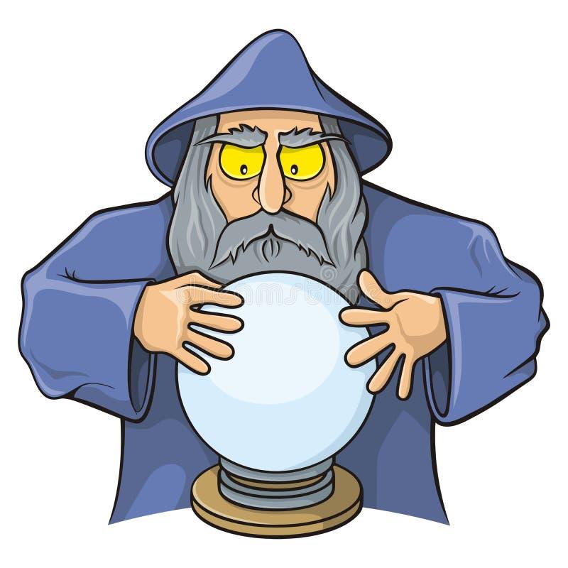 Feiticeiro com bola mágica ilustração do vetor