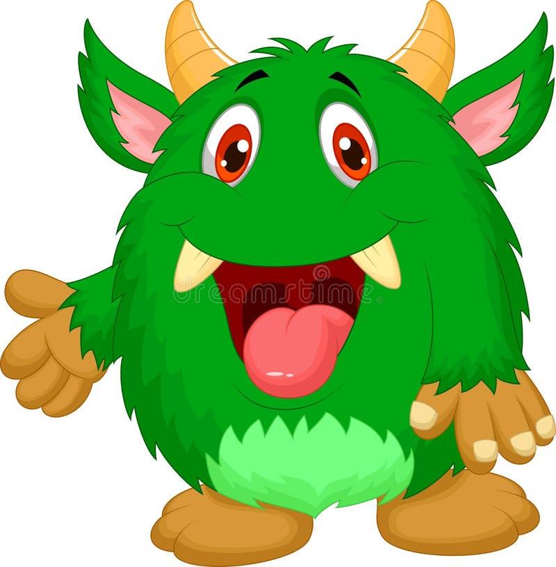 Desenhos animados verdes bonitos do monstro ilustração royalty free