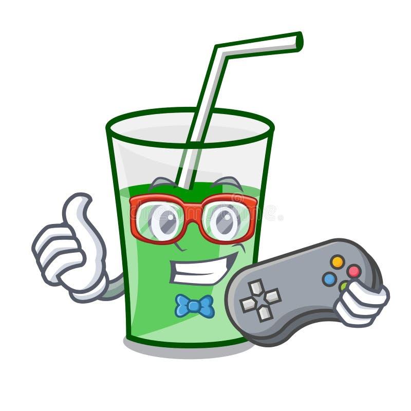 Desenhos animados verdes da mascote do batido do Gamer ilustração do vetor