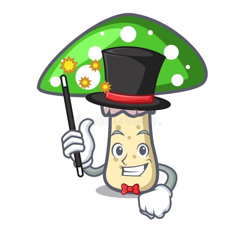 Desenhos animados verdes da mascote do cogumelo do amanita do mágico ilustração stock