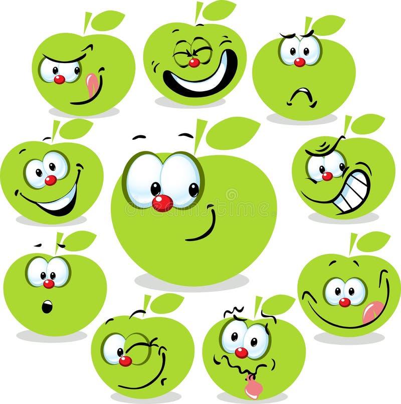 Desenhos animados verdes do ícone da maçã com caras engraçadas ilustração stock