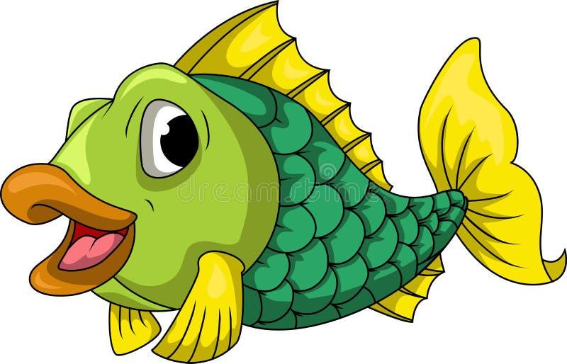 Desenhos animados verdes dos peixes ilustração stock