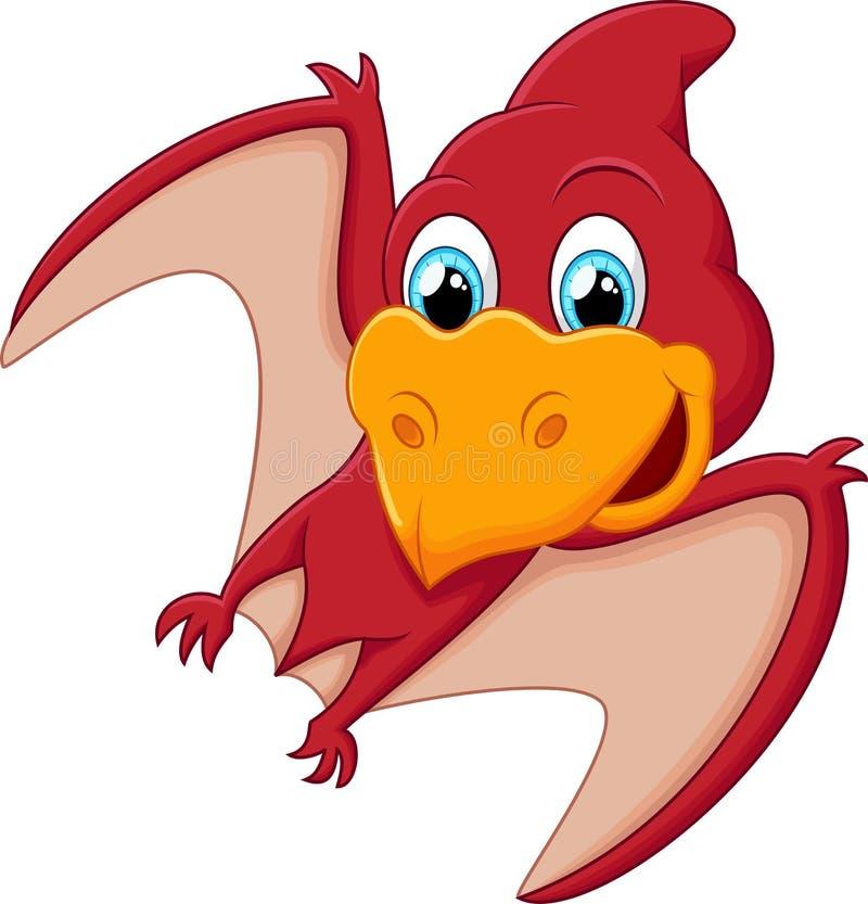 Desenhos animados vermelhos do pterodátilo ilustração stock