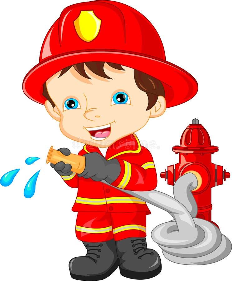 desenhos animados vestindo do sapador-bombeiro do menino novo ilustração stock