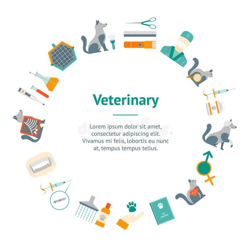 Desenhos animados veterinários e círculo do cartão da bandeira da preparação Vetor ilustração stock