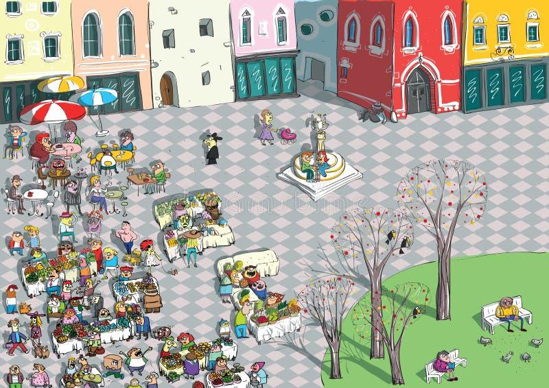 Desenhos animados vibrantes do quadrado de cidade ilustração stock