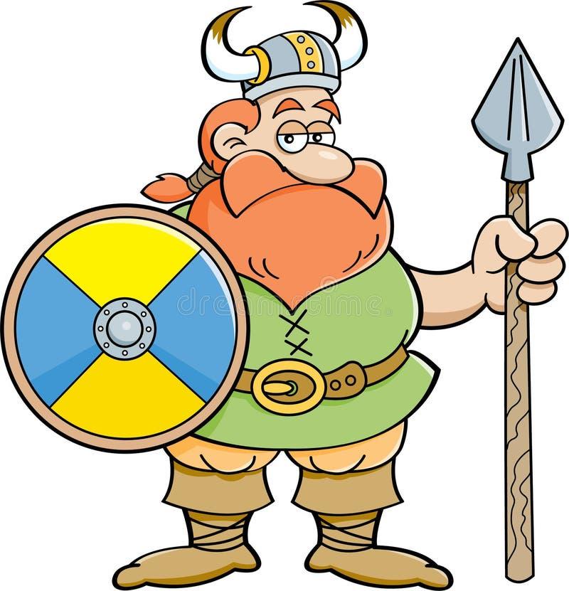 Desenhos animados viquingue que guarda um protetor e uma lança. ilustração stock