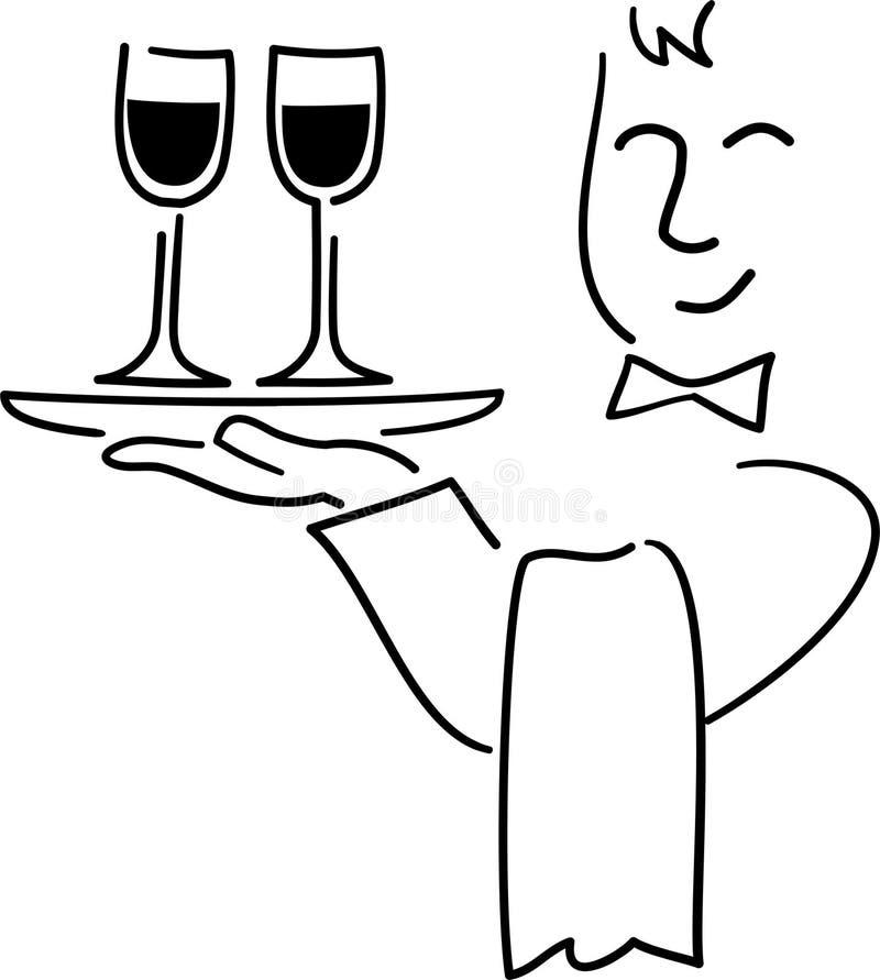Desenhos animados Waiter/ai ilustração royalty free