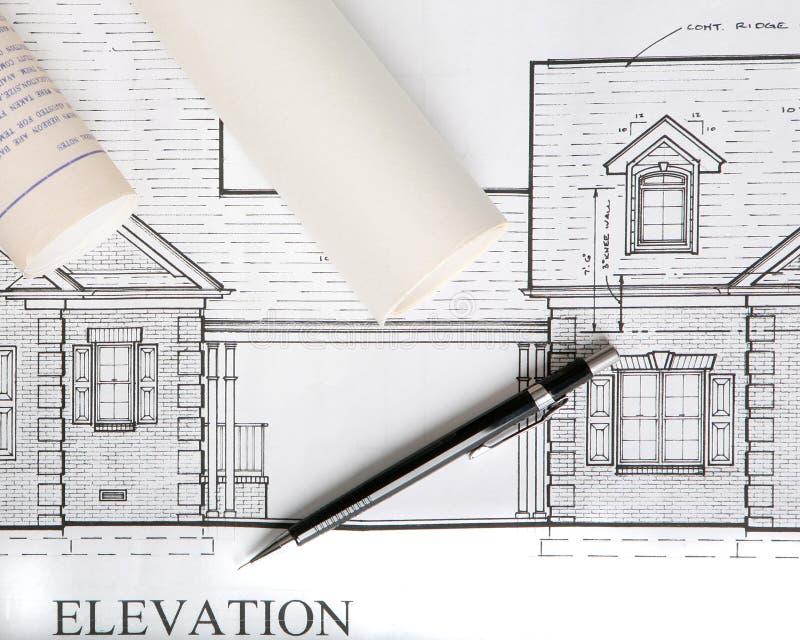Desenhos arquitectónicos da casa foto de stock royalty free