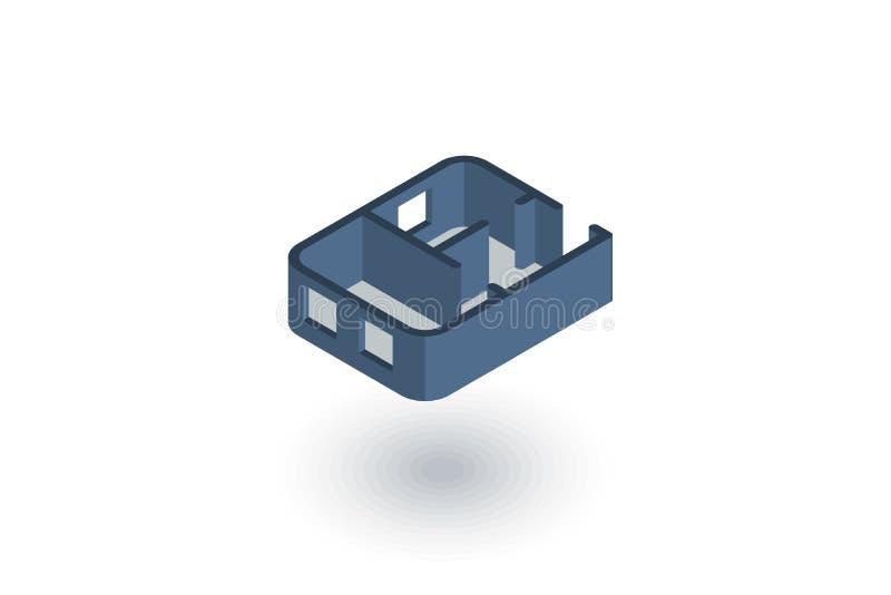 Desenhos arquitetónicos ícone liso isométrico do plano do apartamento vetor 3d ilustração stock