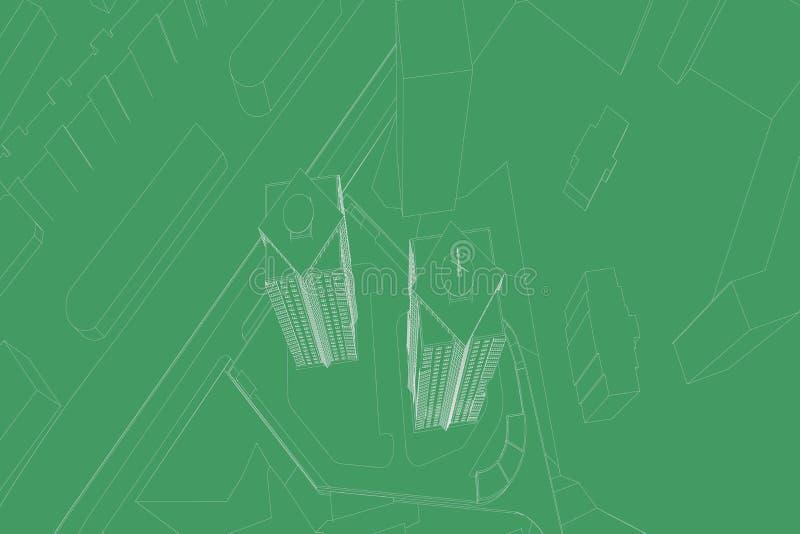 Desenhos arquitetónicos ilustração royalty free