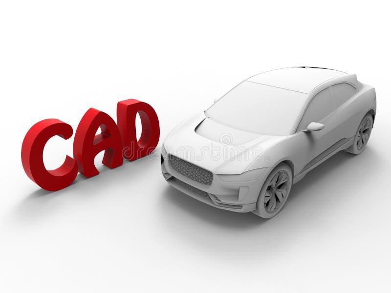Desenhos assistidos por computador - conceito do carro ilustração do vetor