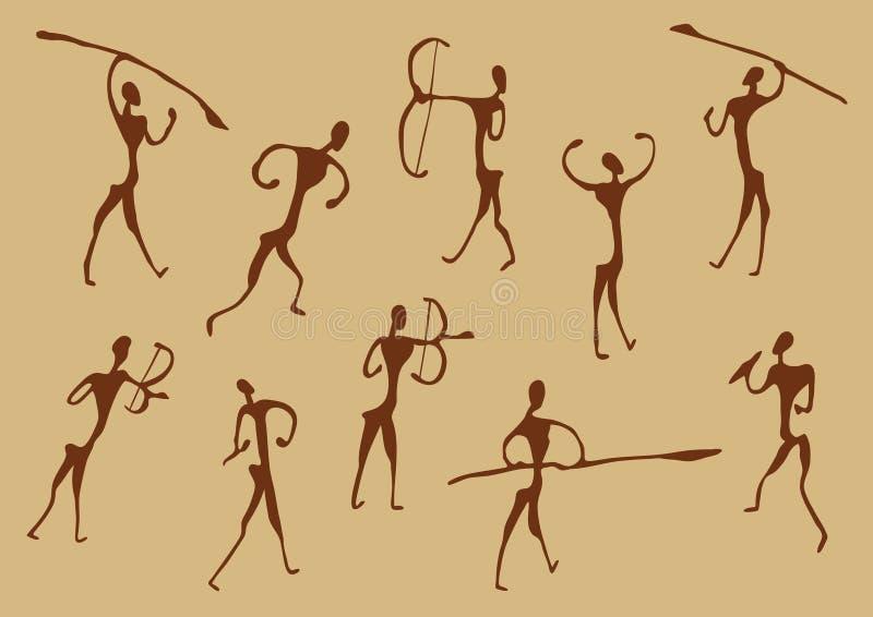 Desenhos da caverna de caçadores antigos ilustração stock