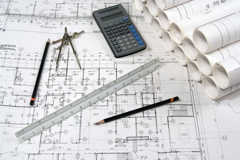 Desenhos da engenharia e da arquitetura foto de stock royalty free