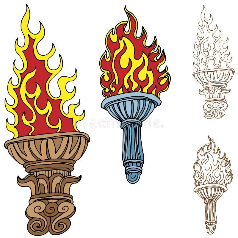 Desenhos da tocha ilustração do vetor