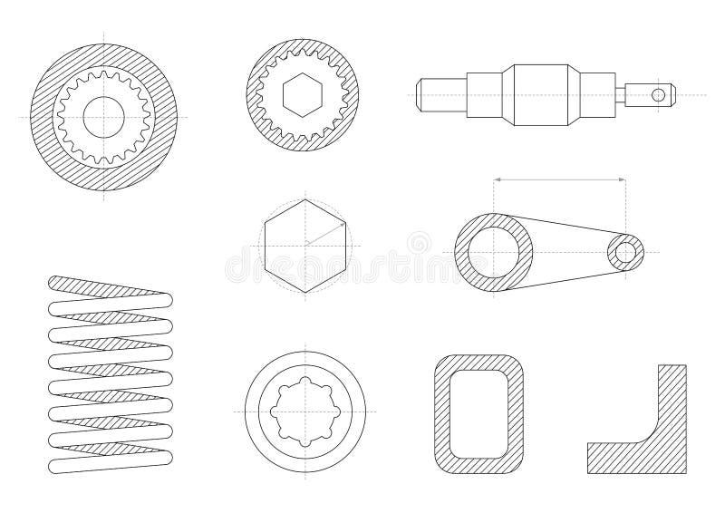 desenhos das peças mecânicas ilustração stock