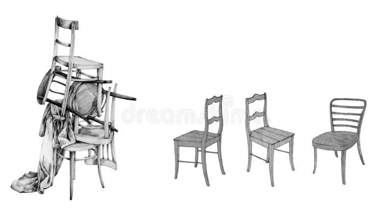 Desenhos de cadeiras de madeira imagem de stock royalty free