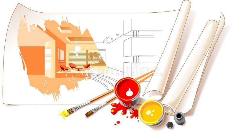 Desenhos de projeto interior ilustração do vetor