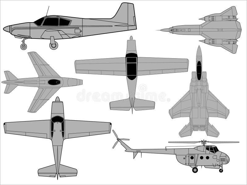 Desenhos detalhados dos aviões ilustração stock