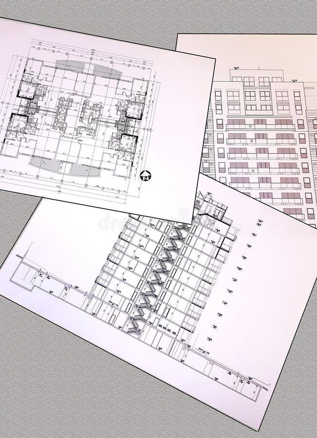 Desenhos do projeto de uma casa residencial - plano, seção, fachada fotografia de stock royalty free