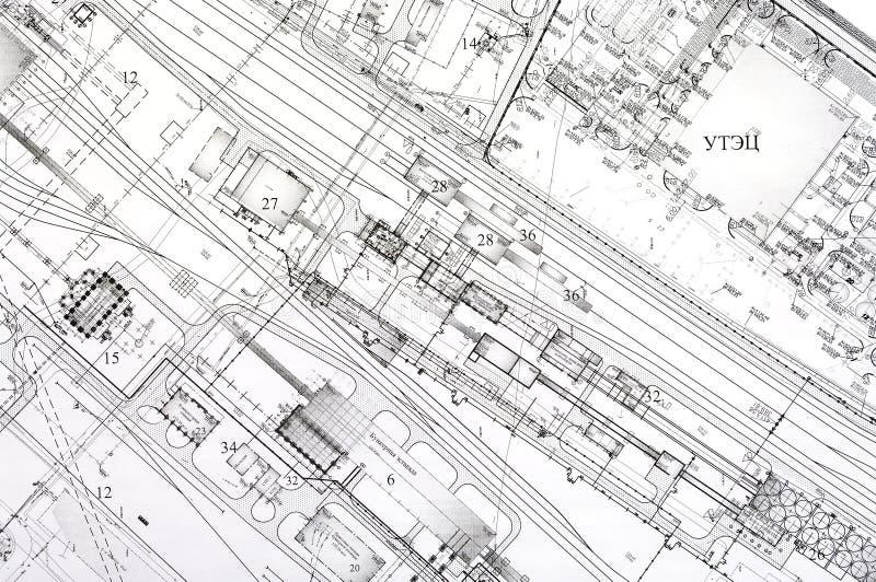 Desenhos do projeto e do projeto. imagem de stock