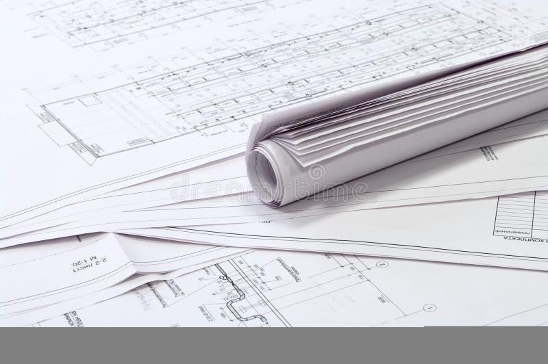Desenhos do projeto e do projeto. foto de stock