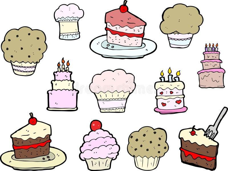 Desenhos do queque e do bolo ilustração do vetor