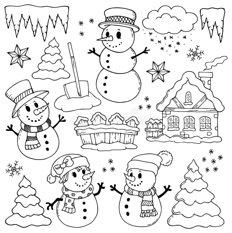 Desenhos 2 do tema do inverno ilustração do vetor