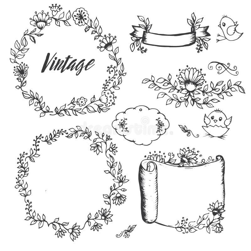 Desenhos do vintage de etiquetas das flores imagens de stock royalty free