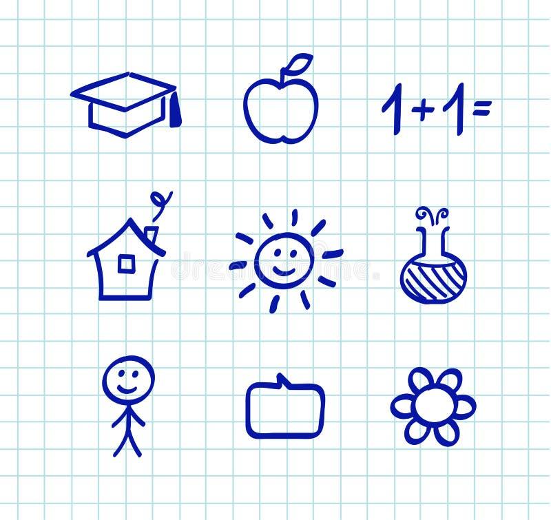 Desenhos e ícones do doodle da escola ilustração royalty free